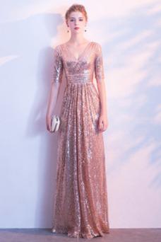 Vestido de dama de honor Natural Cremallera Corte-A Elegante Escote en V Hasta el Tobillo