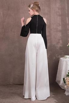 Vestido de noche Elegante Cremallera Escote con cuello Alto Hasta el Tobillo