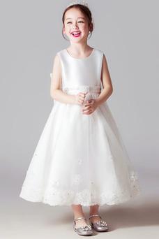 Vestido niña ceremonia Joya Natural Lazos Corte-A primavera Satén