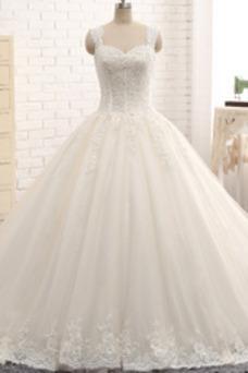 Vestido de novia Corpiño Acentuado con Perla tul Cordón Tiras anchas