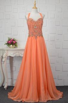Vestido de fiesta Elegante largo Natural Triángulo Invertido Cremallera