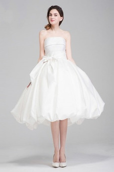 Vestido de novia Sin tirantes Rectángulo primavera Hasta la Rodilla