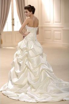 Vestido de novia Sin tirantes Satén Otoño Natural largo Abalorio
