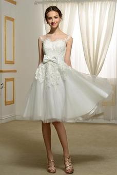 Vestido de novia Hasta la Rodilla Fuera de casa Natural Encaje Arco Acentuado