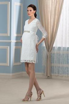 Vestido de novia vendimia Cremallera Encaje Escote en V Mangas Illusion