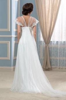 Vestido de novia Playa Manga corta Gasa Espalda Descubierta Abalorio