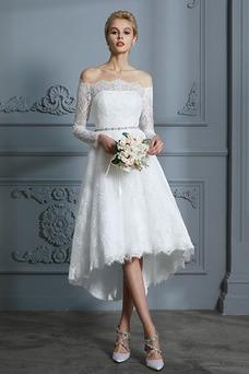 Vestido de novia Botón Moderno Pera Manga larga Asimétrico Dobladillo