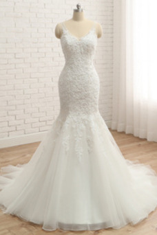 Vestido de novia Elegante Falta Sin mangas Corpiño Acentuado con Perla