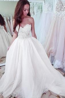 Vestido de novia Playa Capa de encaje Corte-A Encaje Apliques Natural