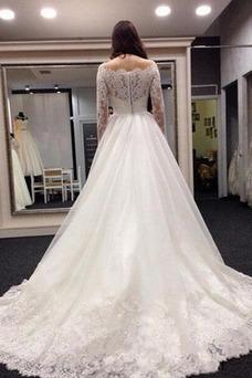 Vestido de novia Elegante primavera Encaje Natural Sala Escote con Hombros caídos