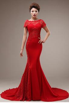 Vestido de novia Corte Sirena Capa de encaje Camiseta Natural Satén Elástico