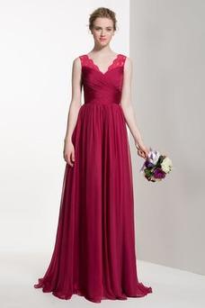Vestido de dama de honor Verano Apliques Manzana Gasa Cola Barriba Elegante