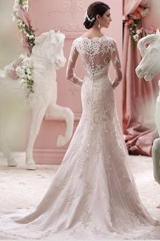 Vestido de novia Invierno Escote sexy Cinturón de cuentas Triángulo Invertido
