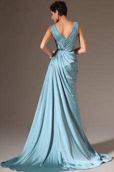 Vestido de noche Gasa Apertura Frontal Formal largo Otoño Cremallera