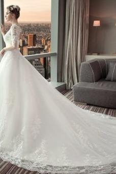Vestido de novia Satén Encaje Natural Capa de encaje Playa Camiseta