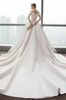 Vestido de novia Otoño Corte-A Iglesia Cola Catedral Drapeado Blusa plisada
