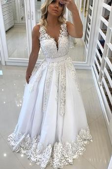 Vestido de novia Natural Verano Arco Acentuado Sala Lazos Escote en V