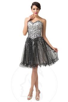 Vestido de graduacion primavera Cristal Escote Corazón Natural tul Cordón