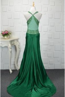 Vestido de noche Natural Corte-A Corpiño Acentuado con Perla Falta Satén Elástico
