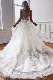 Vestido de novia Espalda Descubierta Natural Apliques Escote de Tirantes Espaguetis