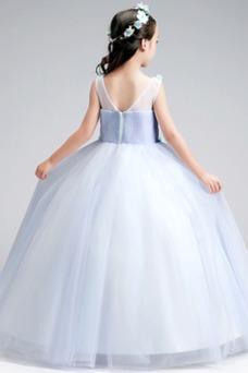 Vestido niña ceremonia Corte-A Cremallera Falta Natural Sin mangas Rosetón Acentuado