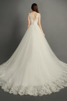 Vestido de novia Invierno Hasta el suelo Sala Apliques Cremallera Corte-A