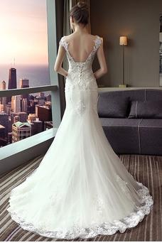 Vestido de novia Corte Sirena Capa de encaje largo Escote con Hombros caídos