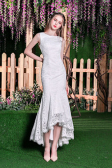 Vestido de novia Corte Sirena Fuera de casa Sin mangas Barco Cremallera