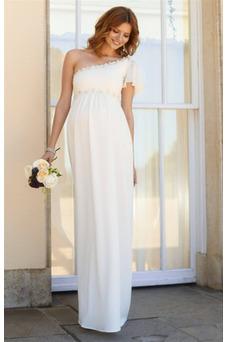 Vestido de novia Embarazadas Asimétrico Estilo Hasta el suelo Fuera de casa