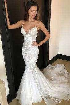 Vestido de novia Romántico Invierno Apliques Cola Corte Sin mangas Sala