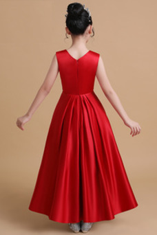 Vestido niña ceremonia Satén Corte-A Rosetón Acentuado Blusa plisada Hasta el Tobillo