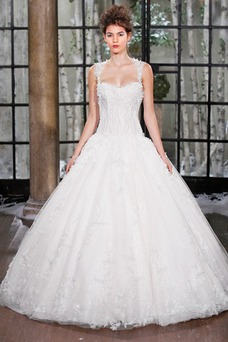 Vestido de novia Escote de Tirantes Espaguetis largo Cintura Baja primavera
