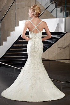 Vestido de novia Escote en V Sin mangas Natural Sala Cola Capilla Espectaculares