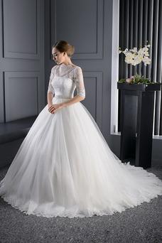 Vestido de novia Encaje La mitad de manga Clasicos Iglesia Mangas Illusion
