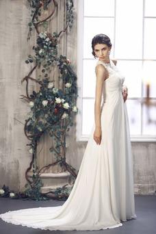 Vestido de novia Sin mangas largo Imperio Cintura Imperio Alto cubierto