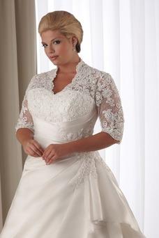 Vestido de novia Corte-A Cola Capilla Satén Abalorio Queen Anne Natural