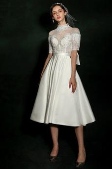 Vestido de novia Pura espalda Satén Corte-A Triángulo Invertido Natural