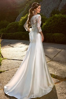 Vestido de novia Corte Sirena Manga de longitud 3/4 Encaje Natural Otoño