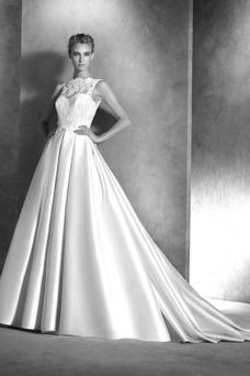 Vestido de novia Invierno Cremallera Corte princesa Satén Natural largo