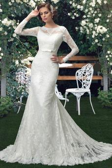 Vestido de novia Manga larga primavera Natural Botón Clasicos Barco