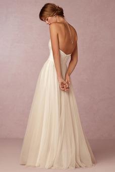 Vestido de novia Playa Verano Espalda Descubierta largo Escote Corazón