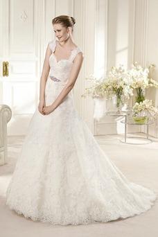 Vestido de novia Sin mangas Otoño Fajas Formal Encaje Natural