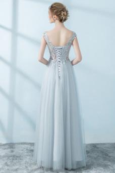 Vestido de noche Cordón Elegante Apliques Escote redondo tul Natural