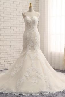 Vestido de novia Corte Sirena Apliques Espalda Descubierta Falta Escote de Tirantes Espaguetis