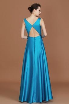 Vestido de dama de honor Sin mangas Hasta el suelo Blusa plisada Verano Natural