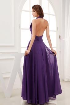 Vestido de noche Espalda Descubierta Escote halter Elegante Sin mangas