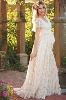 Vestido de novia Imperio Encaje Capa de encaje Embarazadas Manga corta