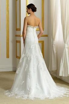Vestido de novia Tallas pequeñas Encaje Corte-A Sin tirantes Satén Natural