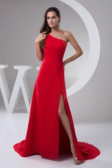 Vestido de noche Gasa Escote Asimètrico Corte-A Natural Espalda medio descubierto