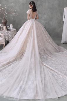 Vestido de novia Recatada Formal Natural Manga corta Encaje Espalda Descubierta
